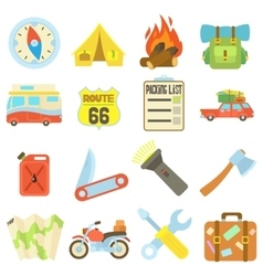 Travel icons set flat style vector