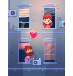 Two lovers talking oby opening window in an vector image