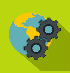 earth and gears icon flat style vector image vector image