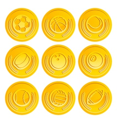 Gold Coins with Sport Balls vector image