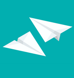 isometric paper airplane flying on background vector image vector image