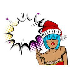 merry christmas woman pop art hold sparkler vector image vector image