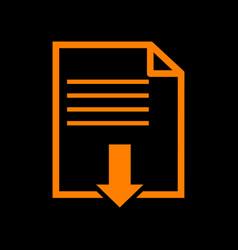 file download sign orange icon on black vector image