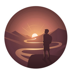 landscape excursion round icon vector image vector image