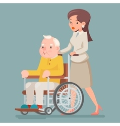 Attendant Nurse Caring for Elderly Wheelchair Old vector image vector image