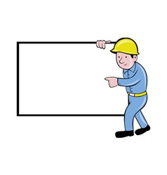 construction worker with white board pointing vector image