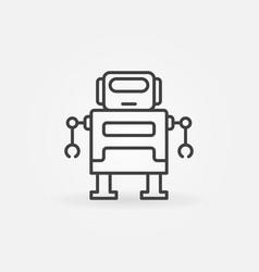 cute robot icon in thin line style vector image vector image