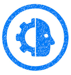 cyborg rounded grainy icon vector image