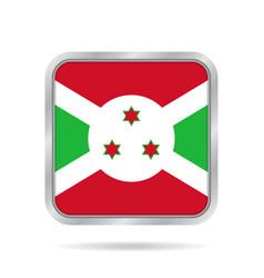 flag of burundi shiny metallic gray square button vector image vector image