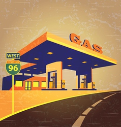 gas station on the road vector image vector image