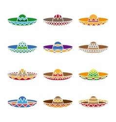 Mexican sombrero color flat icons set vector image