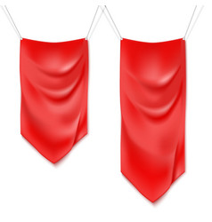 Realistic red textile banners vector image vector image