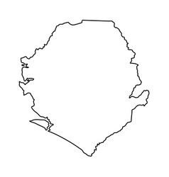 sierra leone map of black contour curves on white vector image