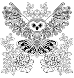Zentangle stylized Black Owl with rose for adult vector image vector image