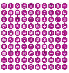 100 database icons hexagon violet vector