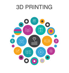 3d printing infographic circle concept smart ui vector