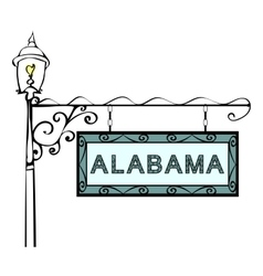 Alabama retro pointer lamppost vector