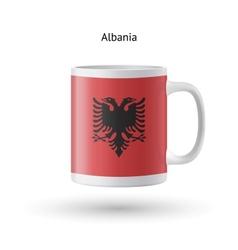 Albania flag souvenir mug on white background vector