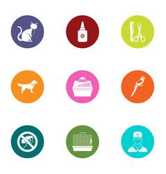 animal organism icons set flat style vector image