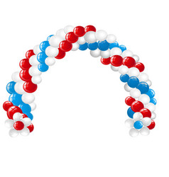 Arc made of white red blue balloons isolated on vector