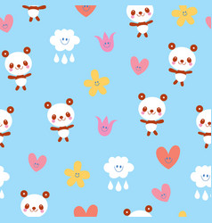 Baby panda bears flowers clouds seamless pattern vector