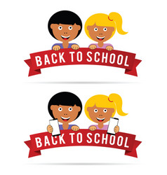 back to school with children vector image