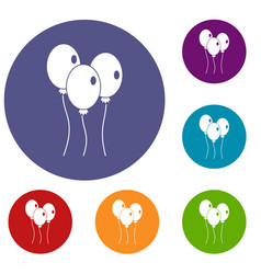 Balloons icons set vector