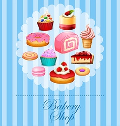 Banner design with different kind of desserts vector image