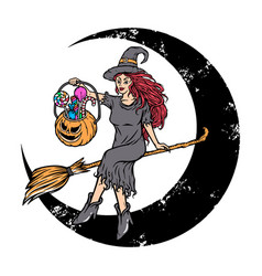 beautiful witch brings halloween candy vector image