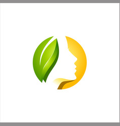 beauty women face and leaf logo vector image