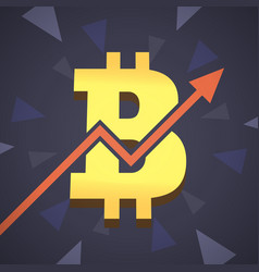 Bitcoin grow up big golden bitcoin vector