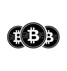 bitcoin icon with micro scheme vector image