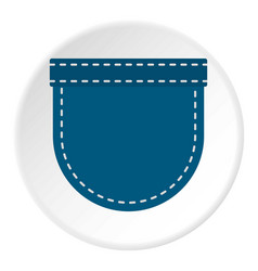 Blue jeans pocket icon circle vector