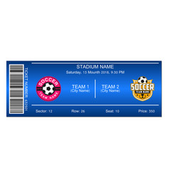 blue soccer ticket vector image