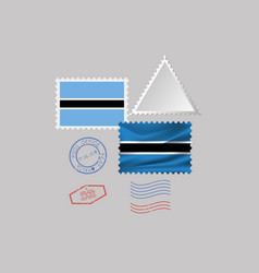 Botswana flag postage stamp set isolated on gray vector
