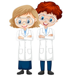 Boy and girl in science gown on isolated vector