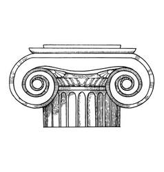 Capital column engraving style vector
