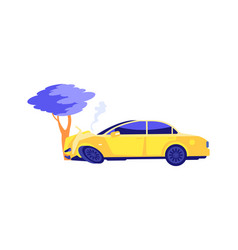 car crash auto crashed into tree automobile vector image