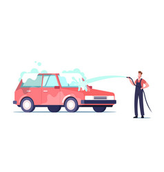 car wash service worker character wearing uniform vector image