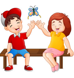 Cartoon couple sitting on the bench playing butter vector