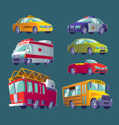 cartoon set of isolated icons of urban transport vector image
