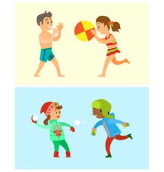 Children summer and winter outdoor activities vector