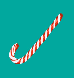 Christmas isolated white red candy cane icon vector
