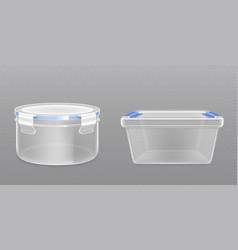 Clear empty plastic bucket front view vector