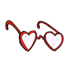 Comic cartoon heart glasses vector