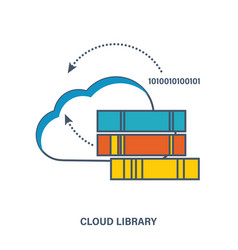 Concept of digital library in the cloud vector
