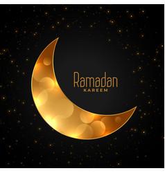 Crescent eid golden moon ramadan kareem background vector