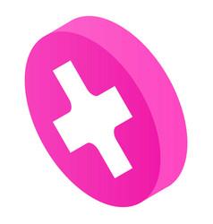 Cross circle icon isometric style vector
