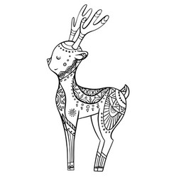 cute cartoon deer with boho pattern linear vector image