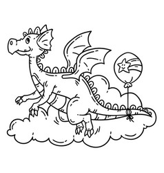 Cute cartoon flying dragon vector